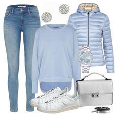 Etwas für alle, die blau besonders gerne mögen. :D Ein großartiges Ton-in-Ton-Outfit. Die Jeans wird mit einem tollen Sweater in babyblau getragen. Die Steppjacke in einem ähnlichen Farbton ergänzt das Oberteil nahtlos. Eine klassische Kombi für den Alltag. Die coolen und stylishen Stan Smith Sneaker von Adidas sorgen für ein angenehmes Tragegefühl. Silberne Accessoires veredeln den Look. Sportlich mit einem Touch von Eleganz. Ein lässiges Outfit mit Stil.