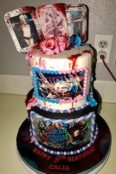 Harley Quinn themed birthday cake! Created by: Tabitha Rodriguez of Tabi's Custom Creations!