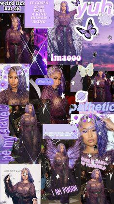 Rapper Wallpaper Iphone, Purple Wallpaper Iphone, Mood Wallpaper, Iphone Wallpaper Tumblr Aesthetic, Black Aesthetic Wallpaper, Black Girl Aesthetic, Purple Aesthetic, Nicki Minaj Wallpaper, Nicki Minaj Pictures