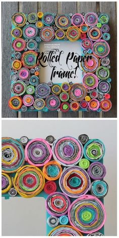 Upcycled Rolled Paper Frame crafts for kids Upcycled Rolled Paper Frame! Recycled Paper Crafts, Newspaper Crafts, Upcycled Crafts, Recycled Magazines, Recycled Magazine Crafts, Decorative Paper Crafts, Recycled Art Projects, Newspaper Basket, Quilling Paper Craft