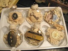 vintage elements fill these clear glass ornaments