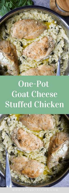 One-Pot Goat Cheese Stuffed Chicken #chicken #goatcheese #stuffed #spinach #orzo #pasta #onepot #recipes #healthy #baked #easy