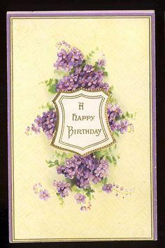 Vintage Postcard A Happy Birthday Shield Violets | eBay