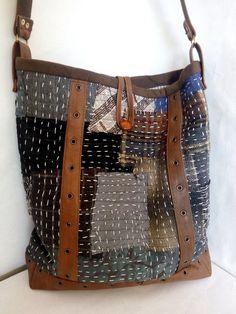 Japanese Embroidery Sashiko Patchwork hobo bag for everyday life and shopping with Sashiko Sashiko Embroidery, Japanese Embroidery, Hand Embroidery, Patchwork Bags, Quilted Bag, Crazy Patchwork, Boro Stitching, Silk Art, Fabric Bags