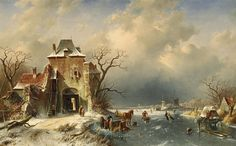 Charles Leickert, DUTCH LANDSCAPE WITH FROZEN RIVER, Auction 957 Old Masters, Lot 1922