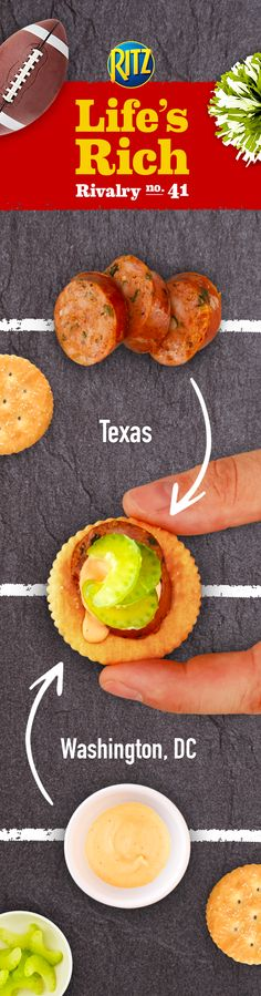 A football homegate is no place to be sour. Keep things on the savory side by combining Texas-style turkey sausage with Washington, DC-style mayo buffalo sauce in Buffalo Sausage Bites. Simply follow this easy recipe: 1. Mix mayonnaise & buffalo wing sauce 2. Top RITZ Crackers w/ turkey sausage, mayo-buffalo sauce & celery. This is the extra kick that wins the party game!