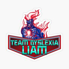 'Liam The Dyslexic club Tam Dyslexia' Sticker by Plastic Stickers, Kids Stickers, Decorate Notebook, Dyslexia, Team S, Transparent Stickers, Glossier Stickers, Botanical Prints, Mask For Kids
