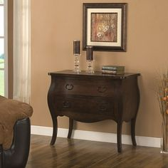 @Overstock - A rich antiqued espresso stain finish highlights this elegant Bombe chest. This chest features a solid wood frame and top, two storage drawers and non-mar foot glides.http://www.overstock.com/Home-Garden/Bombe-Antiqued-Espresso-Chest/5749775/product.html?CID=214117 $307.79