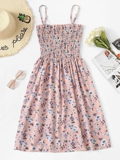 ROMWE offers Floral Print Pleated Cami Dress & more to fit your fashionable needs. Girls Fashion Clothes, Teen Fashion Outfits, Girl Outfits, Fashion Dresses, Emo Outfits, Punk Fashion, Lolita Fashion, Fashion Styles, Retro Fashion