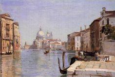 Venice -  View of Campo della Carita looking towards the Dome of the Salute - Camille Corot