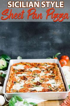 Sheet Pan Pizza - this traditional sheet pan Sicilian Pizza recipe is exactly what grandma used to make. Form the homemade pizza dough to the sheet pan and load it up with toppings and to the oven it goes. This pizza feeds at least Sicilian Pizza Recipe, Sicilian Style Pizza, Sicilian Recipes, Pizza Recipes, Dinner Recipes, Cooking Recipes, Meal Recipes, Recipe Sheets, Thing 1