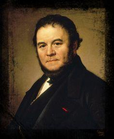 """Stendhal, retrato de Johan Olaf Sodemark (1840). // Henri Beyle (Grenoble, 23 de enero de 1783 – París, 23 de marzo de 1842), más conocido por su seudónimo Stendhal, fue un escritor francés del siglo XIX. <Stendhal (1783-1842), auteur de """"Le Rouge et le Noir"""" et des """"Voyages en Italie"""">"""