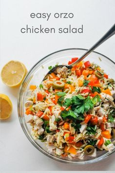 Orzo Salad Recipe with Chicken, Bell Peppers, Olives, & a Wholegrain Mustard Dressing. An easy, weeknight meal! |#dinnerrecipe#dinnerrecipesforfamilies #pastarecipes #chickensalad