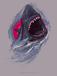 Vector Great White Shark