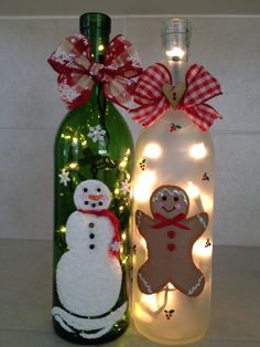 Bottle of Cheer - hand painted, lighted wine bottles by Iris Tita Suarez Nieves Recycled Wine Bottles, Painted Wine Bottles, Lighted Wine Bottles, Decorate Wine Bottles, Decorated Bottles, Bottle Lights, Vintage Bottles, Vintage Perfume, Glass Bottle Crafts