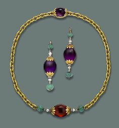 A DIAMOND AND GEM-SET DEMI-PARURE. The front section of the necklace designed as a citrine bead with diamond and emerald terminals to the anchor-link neckchain and amethyst bead clasp, earrings en suite, adapted circa 1970, containing Belle Epoque elements. Provenance: Given by King Umberto II to his daughter Princess Maria Gabriella of Savoy.