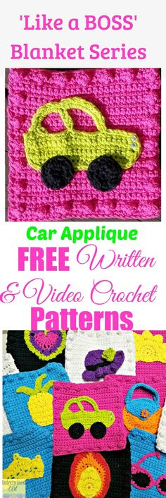 "Free written pattern and video tutorial for a Crochet Car Applique. ""Like a Boss"" Blanket Series Crochet Car Square Pattern."