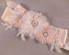 Champagne Blush And Ivory Bridal Sash Belt by PetalsAndStardust