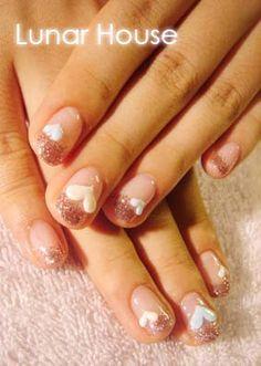 Rose Glitter Gel Nails 1