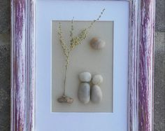 FREE SHIPPING  This piece will be made to order.  Pebble couple in the outdoors under a tree with the sun. Materials used are pebbles, rocks, desert plants, twigs. The open wood frame measures 5x7, and is painted in acrylics then distressed. Ready to hang or stand, I love customer suggestions, and will gladly accommodate any request. This is a wonderful gift idea for a new couple or basically anyone.