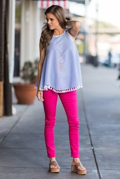 """""""The Katarina Skinny Jeans, Fuschia""""Yeah, you're exactly right! A pair of bright fuchsia skinnies is exactly the thing to complete your flawless spring OOTD! #newarrivals #shopthemint"""
