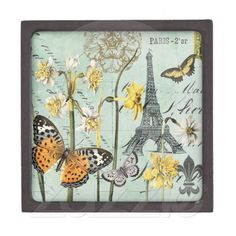 Vintage Springtime in Paris box with lid Premium Keepsake Box