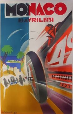 1931 poster by Robert Falcucci - he designed consecutive 1930-1932 posters in the spirit of Vorticism, which allowed him to show direction, movement and velocity.
