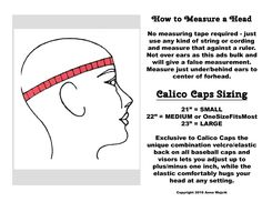 How to measure a head. Will this baseball cap ball cap sports athletic hat fit? Sizing: determine your hat size here. Get your cap at www.CalicoCaps.com , Etsy, eBay or Scotts Marketplace.