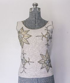 Vintage Early 1960s Blouse - Fully Sequined / Beaded Floral White Sleeveless  Wool Blouse Top Shell - Small / Medium