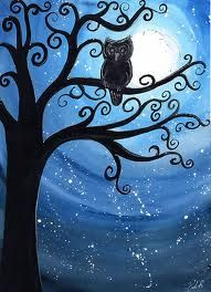 Moonlit behind owl, rings of blue with swirls of stars, gorgeous  Google Image Result for http://www.klbaileyart.com/blog/wp-content/uploads/2010/07/work.5468734.1.flat550x550075f.satellite-and-sage.jpg
