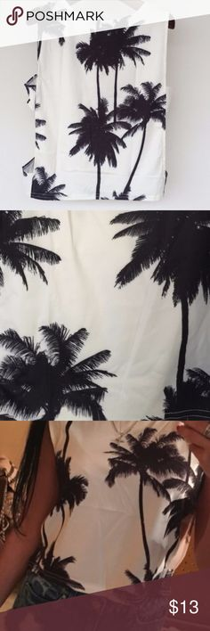 Palm Tree Tank Top White Tank top with grey ish palm trees. Perfect over bathing suit top. Open cut out on sides. cotton/spandex feel.  size small. never worn. Tops Tank Tops