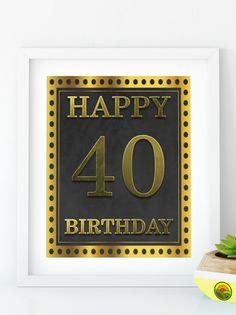 Items similar to Happy Birthday 55 Gold birthday sign birthday party Printable Gold party decor print birthday decoration on Etsy Happy 80th Birthday, 40th Birthday Parties, Gold Birthday, 40th Birthday Decorations, Gold Party Decorations, Diy Banner, Sign, Printable, 30th