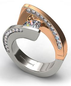 Contemporary tension set Wedding Rings for Women | Tension Swirl Engagement Ring with Pave Diamonds in 14k White and ...