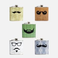 Mustache Flasks Set Of 5, $65, now featured on Fab.