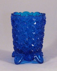 Fenton Daisy & Button footed blue toothpick holder