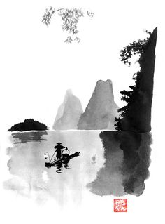 Superb Sumi-e Technique Paintings by Pechane – Fubiz Media Landscape Tattoo, Landscape Drawings, Sumi E Painting, Chinese Painting, Canvas Artwork, Canvas Art Prints, Japanese Artwork, Chinese Landscape, Zen Art