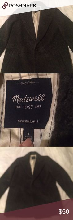 Madewell Wool-blend Coat Barely worn grey Madewell coat. Outside material: 38% acrylic, 30% wool, 24% polyester, 8% nylon. Medium/heavy coat. One button outside, comes with extra button sewn into inside in case the first one is lost. The inside is pinstripe and a silky material. Madewell Jackets & Coats