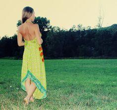Handmade Hippie Dress Green Bohemian Dress  by Cloud9Jewels, $38.00