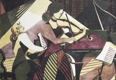 Lill Tschudi (Swiss, Musicians Linocut printed in black, yellow and purple, 1949 Woodcut Art, Linocut Prints, Piano Y Violin, Guitar, Music Images, Bear Art, Print Artist, Gravure, Art Pictures