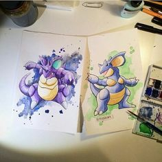 The King and Queen together!! Amazing watercolor paintings by @moodsart Go check this account for more pokemon art! #pokemon #pokemonart #nintendo #nidoking #nidoqueen #king #queen #watercolor #colors by lem1990_geek_art