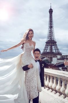 More fun #photos from #angelababy and #huangxiaoming's #weddingalbum in #paris! Love!