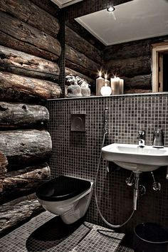 Top 60 Best Log Cabin Interior Design Ideas - Mountain Retreat Homes Man Cave Bathroom, Wood Bathroom, Bathroom Ideas, Bathroom Designs, Rustic Bathrooms, Small Bathrooms, Bathroom Black, Bathroom Remodeling, Modern Bathroom