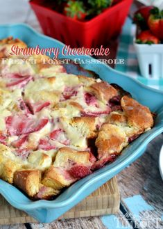 Overnight Strawberry Cheesecake French Toast Casserole from MomOnTimeout.com | #recipe #breakfast #brunch