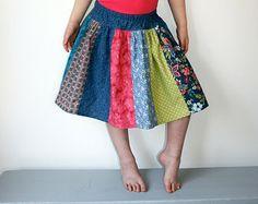 Cartwheel Skirt in Denim Blue - Girls Stripwork Twirl Skirt With Drop Waist