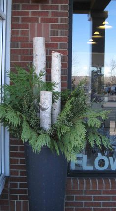 Simple planter with birch and greens! Love it!!!!                                                                                                                                                                                 More