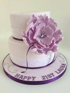 Purple fantasy flower 2 tier cake - by Helen Allsopp @ CakesDecor.com - cake decorating website