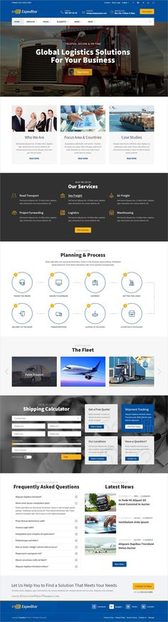 Expeditor is clean and modern design PSD #template for freight, #warehouse, #logistics and transportation company website with 36 layered download now..