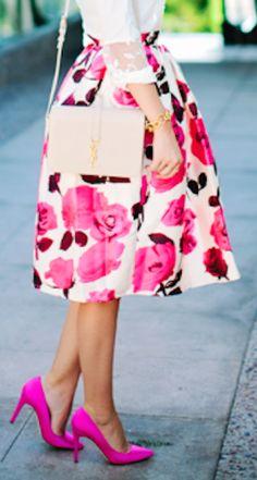 pink glam rose a-line skirt