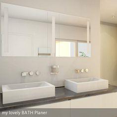 Glänzende Waschtischplatte aus Naturstein im Kontrast mit viel Weiß und Hochglanz Armaturen