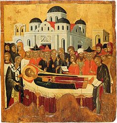 The Dormition of St Demetrios. th cent. Byzantine Icons, Byzantine Art, Sainte Cecile, Russian Icons, Religious Paintings, Best Icons, Religious Icons, Orthodox Icons, Sacred Art